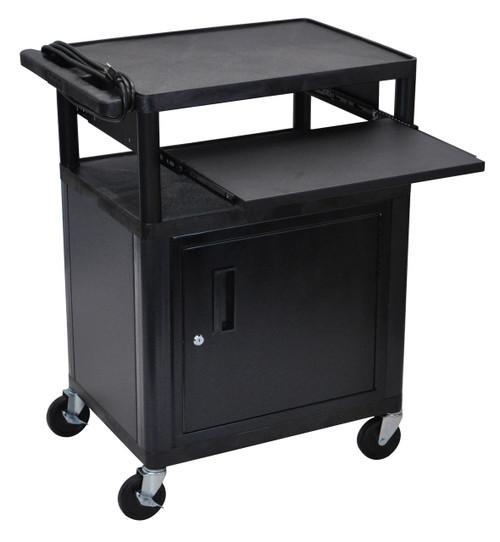 Luxor Endura Black 3 Shelf Presentation Cart W/ Cabinet & Pullout Shelf