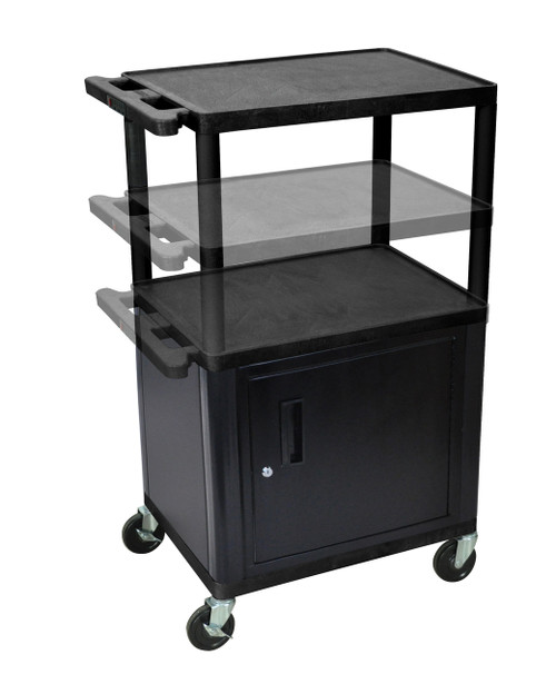 Luxor Black Endura Presentation Cart Multi Height with Cabinet & Electric
