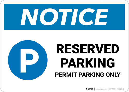 Notice: Reserved Parking - Permit Parking Only Landscape