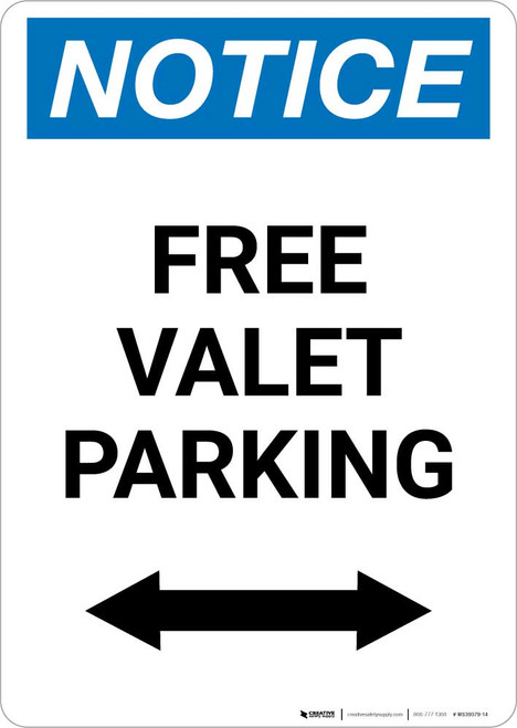 Notice: Free Valet Parking with Bidirectional Arrow Portrait