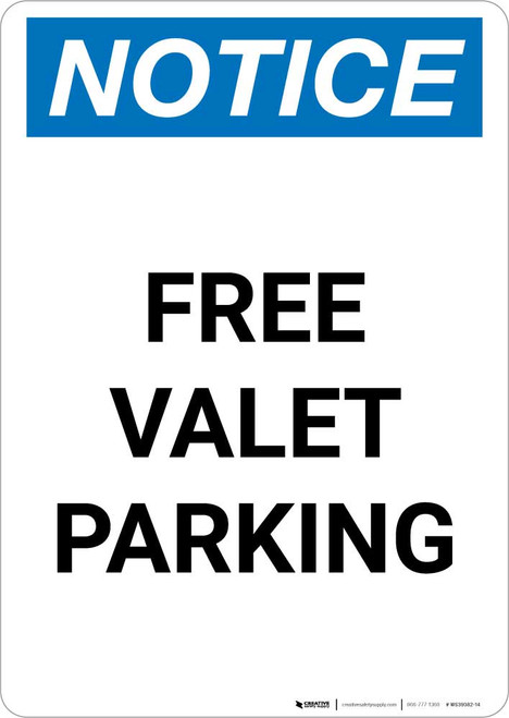 Notice: Free Valet Parking Portrait