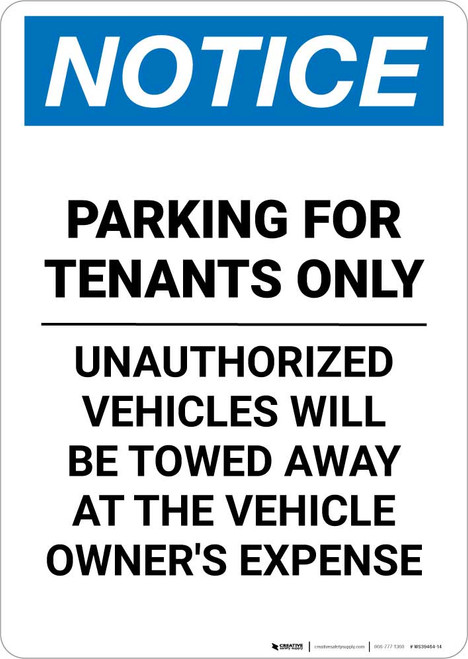 Notice: Parking for Tenants Only - Unauthorized Vehicles Will be Towed Portrait