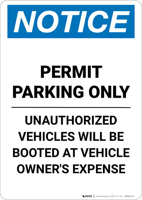 Notice: Permit Parking Only - Unauthorized Vehicles Will be Booted Portrait