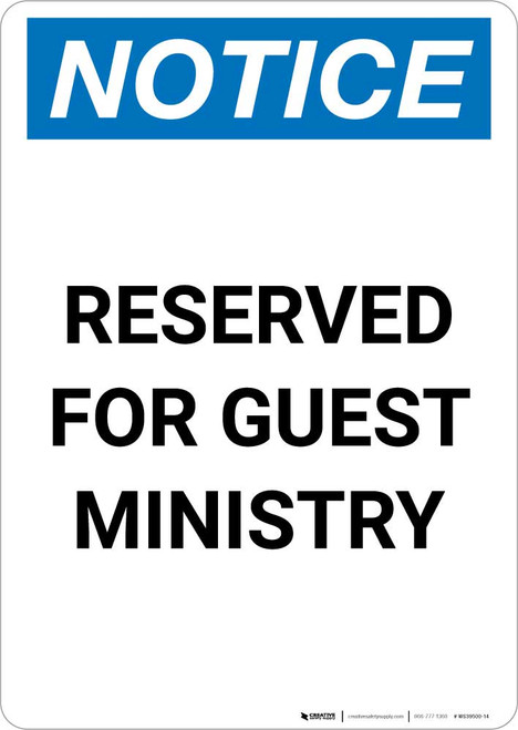 Notice: Reserved for Guest Ministry Portrait