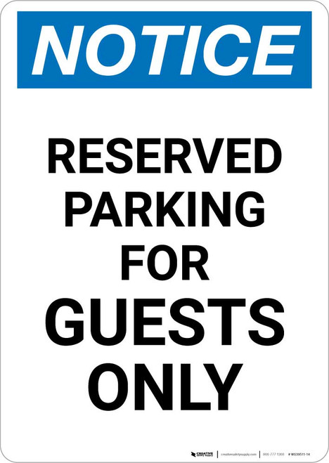 Notice: Reserved Parking for Guests Only Portrait