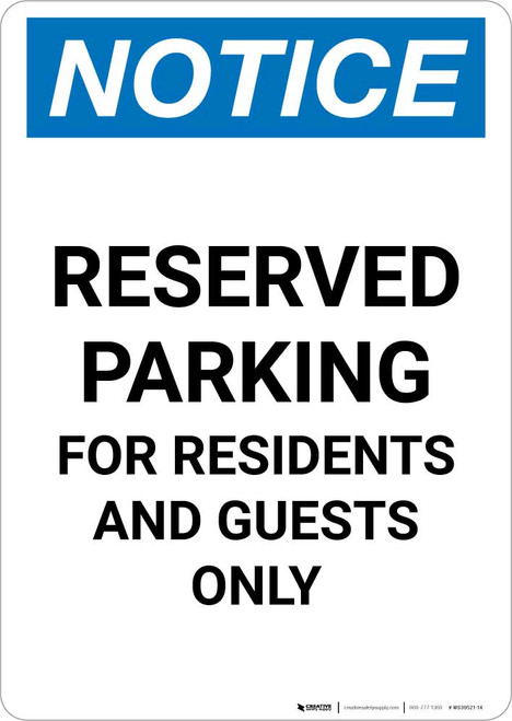 Notice: Reserved Parking for Residents And Guests Only Portrait