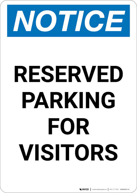Notice: Reserved Parking for Visitors Portrait