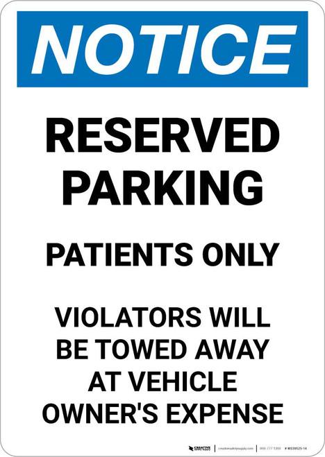 Notice: Reserved Parking - Patients Only Portrait