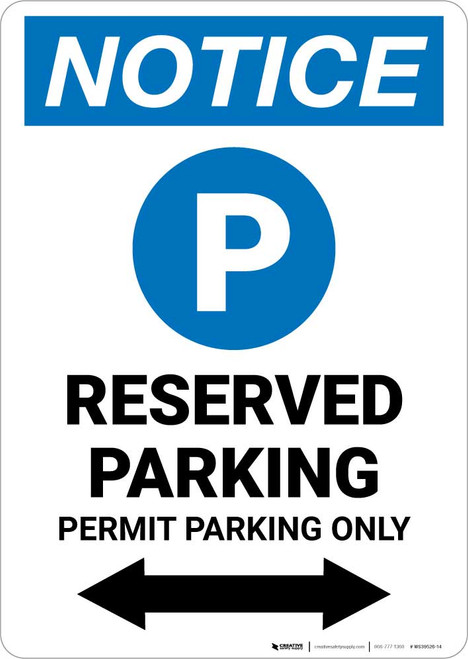 Notice: Reserved Parking - Permit Parking Only with Bidirectional Arrow Portrait
