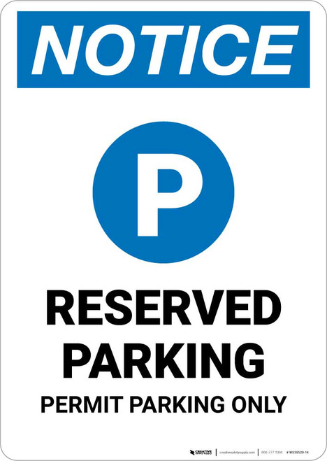 Notice: Reserved Parking - Permit Parking Only Portrait