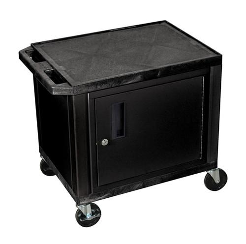 Luxor Tuffy Black 2 Shelf AV Cart W/ Cabinet & Electric