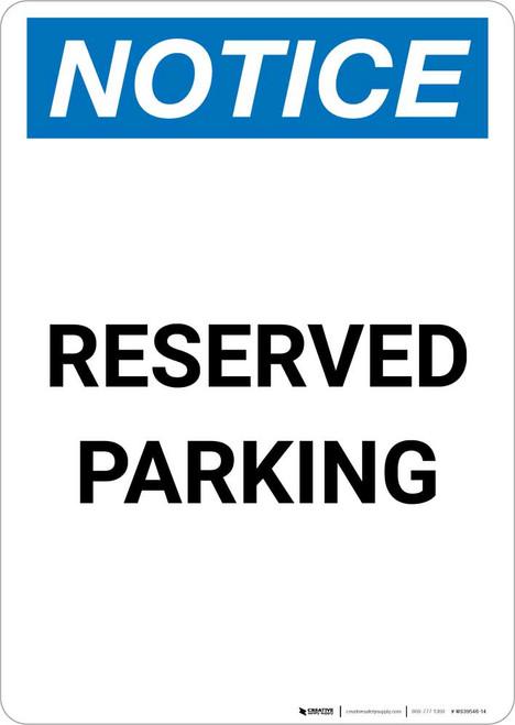 Notice: Reserved Parking Portrait