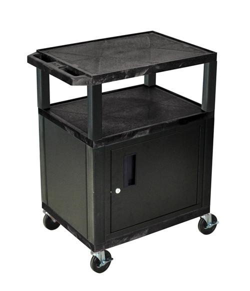 Luxor Tuffy Black 3 Shelf AV Cart W/ Cabinet & Electric