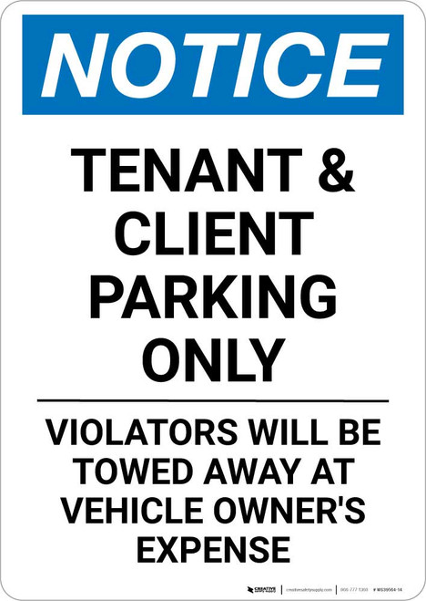 Notice: Tenant and Client Parking Only - Violators Towed Away with Icon Portrait
