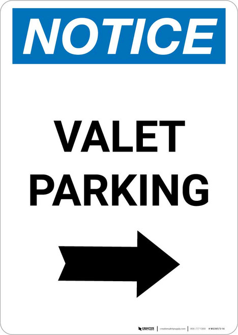 Notice: Valet Parking with Right Arrow Portrait