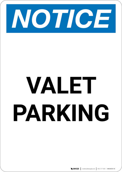 Notice: Valet Parking Portrait