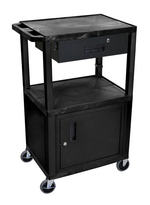 "Luxor Black Tuffy 3 Shelf 42"" AV Cart W/ Cabinet & Electric"