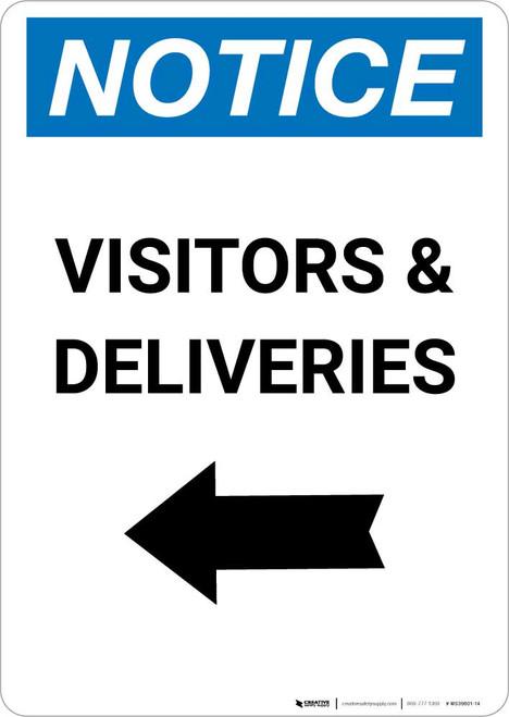 Notice: Visitors/Deliveries with Left Arrow Portrait