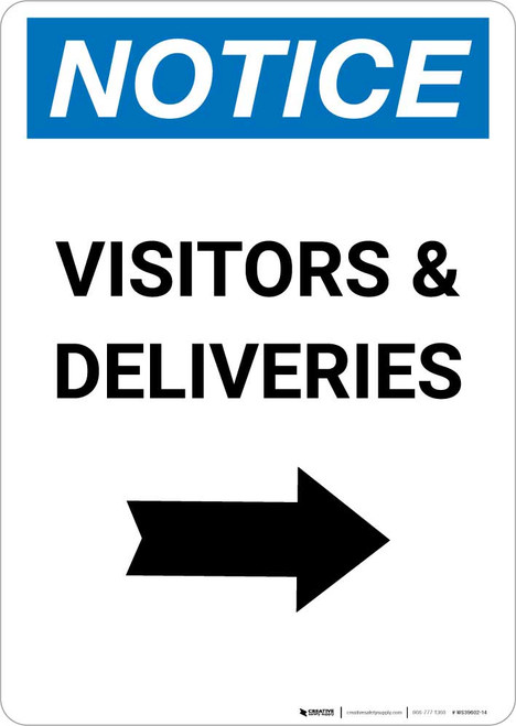 Notice: Visitors/Deliveries with Right Arrow Portrait