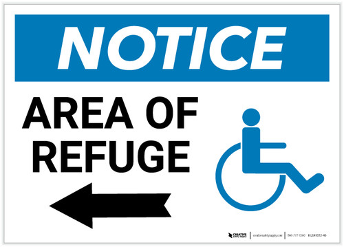 Notice: Area Of Refuge with ADA Icon and Left Arrow Landscape - Label