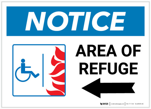 Notice: Area Of Refuge with ADA Fire Icon Left Arrow Landscape - Label