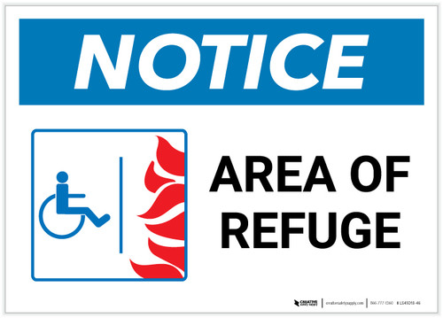 Notice: Area Of Refuge with ADA Fire Icon Landscape - Label