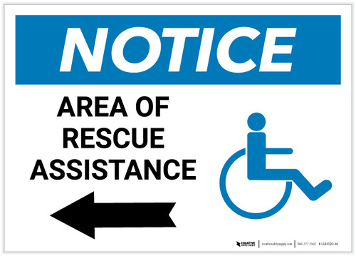 Notice: Area Of Rescue Assistance with ADA Icon and Left Arrow Landscape - Label