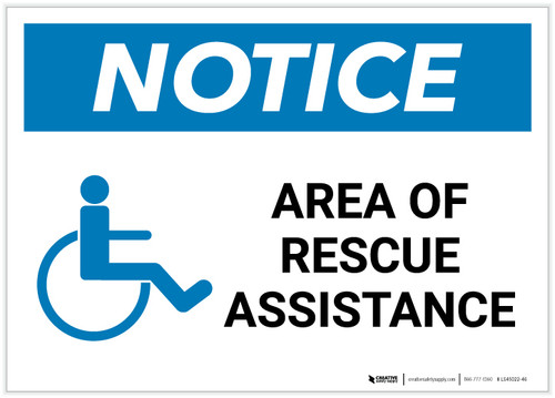 Notice: Area Of Rescue Assistance with ADA Icon Landscape - Label