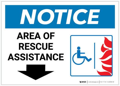 Notice: Area Of Rescue Assistance with ADA Fire Icon Down Arrow Landscape - Label