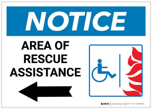 Notice: Area Of Rescue Assistance with ADA Fire Icon Left Arrow Landscape - Label