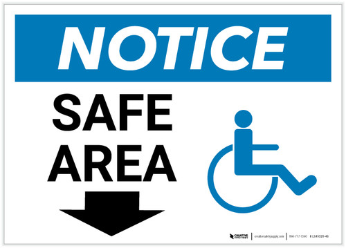 Notice: Safe Area with ADA Icon and Down Arrow Landscape - Label