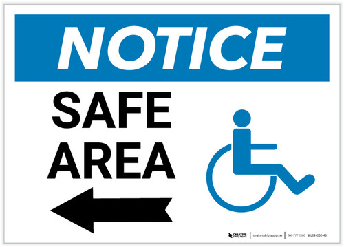 Notice: Safe Area with ADA Icon and Left Arrow Landscape - Label