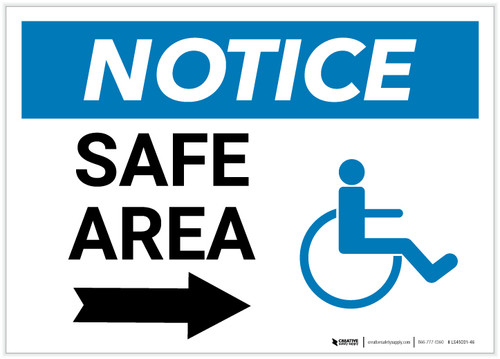 Notice: Safe Area with ADA Icon and Right Arrow Landscape - Label