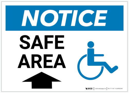 Notice: Safe Area with ADA Icon and Up Arrow Landscape - Label