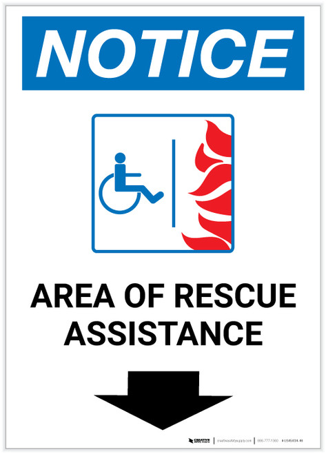 Notice: Area Of Rescue Assistance with ADA Fire Icon and Down Arrow Portrait - Label