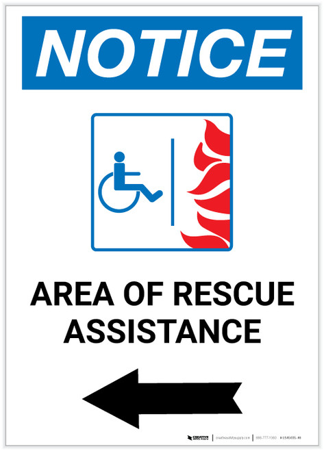 Notice: Area Of Rescue Assistance with ADA Fire Icon and  Left Arrow Portrait - Label