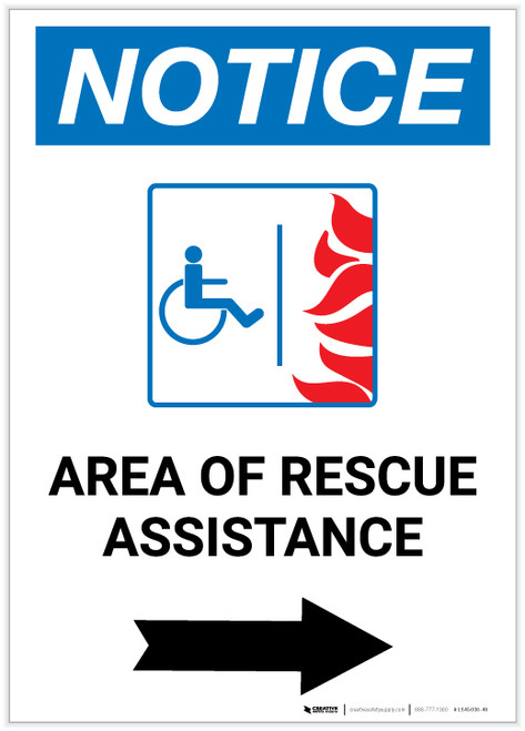 Notice: Area Of Rescue Assistance with ADA Fire Icon and Right Arrow Portrait - Label