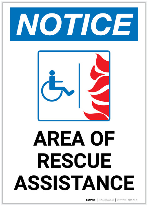 Notice: Area Of Rescue Assistance with ADA Fire Icon Portrait - Label