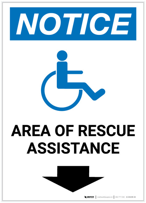 Notice: Area Of Rescue Assistance with ADA Icon Down Arrow Portrait - Label