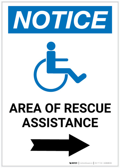 Notice: Area Of Rescue Assistance with ADA Icon Right Arrow Portrait - Label