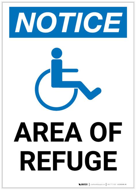 Notice: Area of Refuge with ADA Icon Portrait - Label