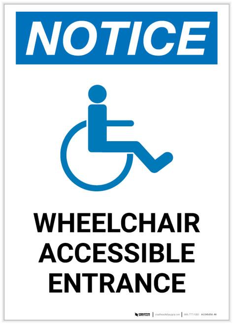 Notice: Wheelchair Accessible Entrance Portrait - Label