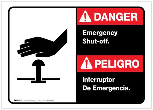 Danger: Spanish Bilingual Emergency Shut-Off Landscape ANSI - Label