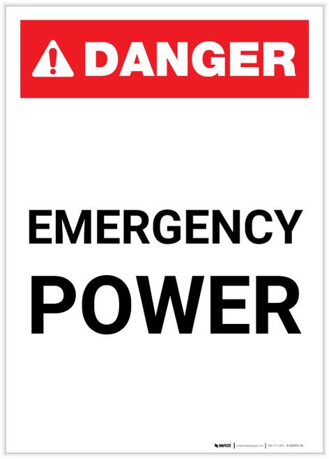 Danger: Emergency Power Portrait ANSI - Label
