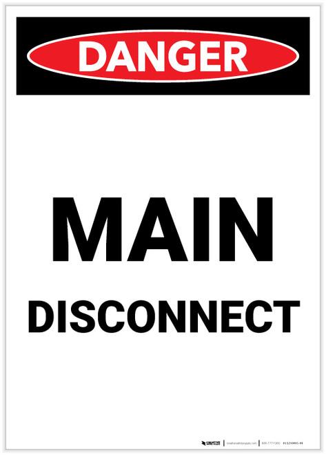 Danger: Main Disconnect Portrait - Label