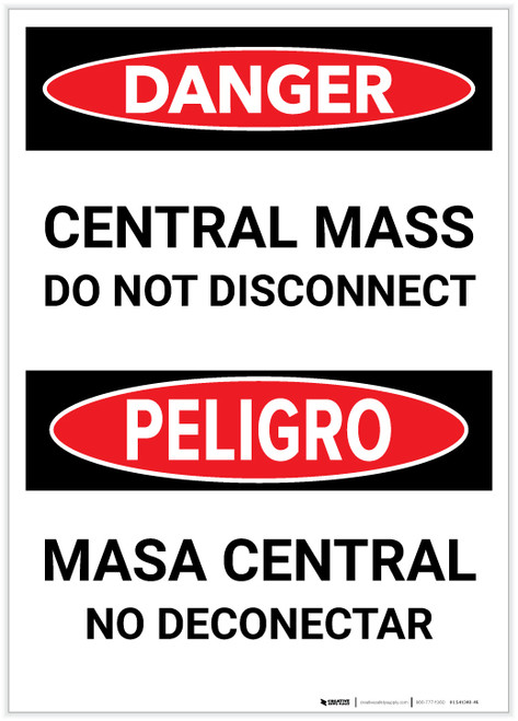 Danger: Bilingual Central Mass - Do Not Disconnect Portrait - Label