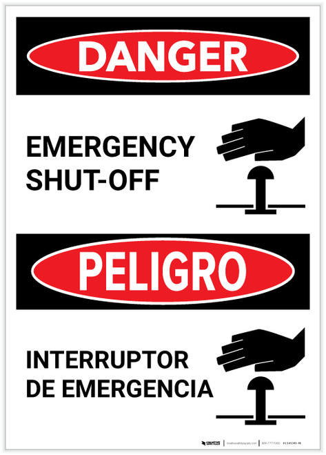 Danger: Bilingual Emergency Shut-Off with Icon Portrait - Label