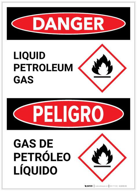 Danger: Bilingual Liquid Petroleum Gas with GHS Flammable Icon Portrait - Label