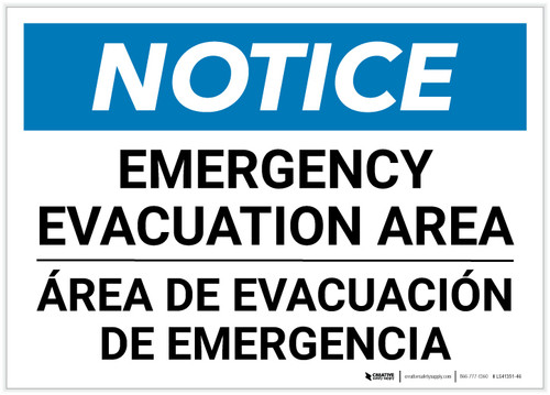 Notice: Bilingual Emergency Evacuation Area Landscape - Label
