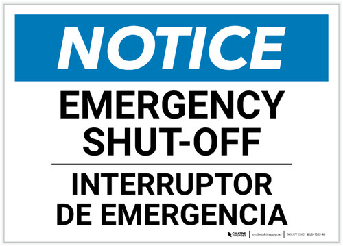Notice: Bilingual Emergency Shut-off Landscape - Label